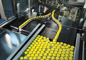 Medical supplies being produced on a conveyor