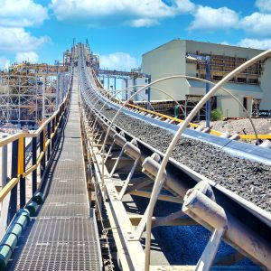 Mining conveyor going up into horizon